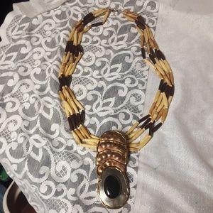 Jewelry - Unique Art Deco Copper Brass Stand Necklace